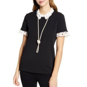 Karl Lagerfeld Lace Collar Short Sleeve Black Too